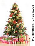 beautifully decorated christmas ... | Shutterstock . vector #348841091