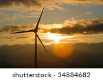 photo of wind power silhouette...   Shutterstock . vector #34884682