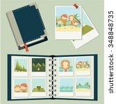 photo set. family traveling ... | Shutterstock .eps vector #348848735