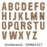 Painted Wood Vector Abc  Font ...