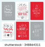 set of 6 vintage cute christmas ... | Shutterstock .eps vector #348864311
