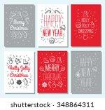 set of 6 vintage cute christmas ... | Shutterstock .eps vector #348864311