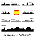 spain. silhouettes of cities.... | Shutterstock .eps vector #348866069