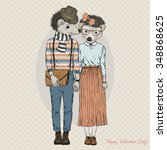 fashion cute hipster couple of... | Shutterstock .eps vector #348868625