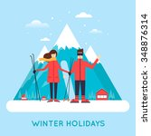 man and women skiing and... | Shutterstock .eps vector #348876314