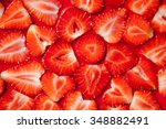 Strawberry Slice Red Background