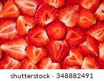 strawberry slice red background | Shutterstock . vector #348882491