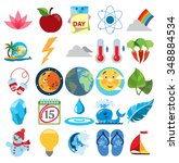 weather vector icons set ... | Shutterstock .eps vector #348884534