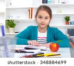 beautiful girl working on her... | Shutterstock . vector #348884699