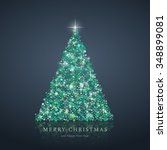 stylized green christmas tree... | Shutterstock . vector #348899081