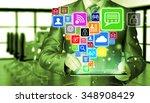 business man using tablet pc... | Shutterstock . vector #348908429