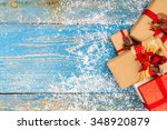 christmas decoration on wood... | Shutterstock . vector #348920879
