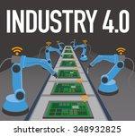 robot arms and conveyor belt ... | Shutterstock .eps vector #348932825