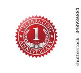 1 year anniversary silver red... | Shutterstock .eps vector #348936881