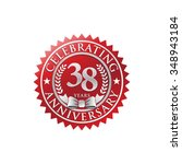 38 years anniversary silver red ...   Shutterstock .eps vector #348943184