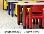 small colored tables and chairs ... | Shutterstock . vector #348954299