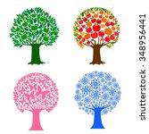 tree in four seasons   spring ... | Shutterstock . vector #348956441