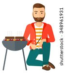 man sitting next to barbecue... | Shutterstock .eps vector #348961931