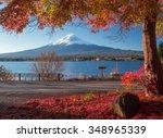 Mt. Fuji And Autumn Foliage At...