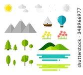 landscape elements on white... | Shutterstock .eps vector #348966977