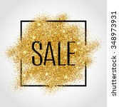 gold sale background in frame.... | Shutterstock .eps vector #348973931