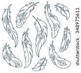 set of bird feathers with... | Shutterstock .eps vector #348975611