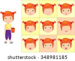 red haired girl with a cup of... | Shutterstock . vector #348981185