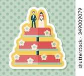 wedding cake flat icon with... | Shutterstock .eps vector #349009079