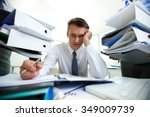 tired manager have so many... | Shutterstock . vector #349009739
