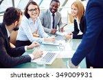 business team discussing... | Shutterstock . vector #349009931