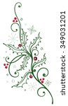 colorful holly branch with... | Shutterstock .eps vector #349031201