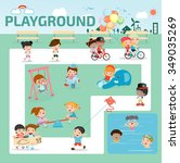 children in the playground... | Shutterstock .eps vector #349035269