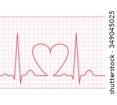 ecg   electrocardiogram on red... | Shutterstock . vector #349045025