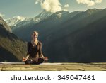 young female doing yoga... | Shutterstock . vector #349047461