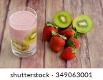kiwi strawberry smoothie | Shutterstock . vector #349063001
