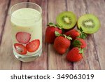 kiwi strawberry smoothie | Shutterstock . vector #349063019