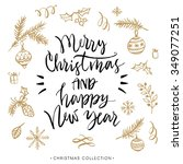 merry christmas and happy new... | Shutterstock .eps vector #349077251