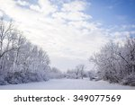 winter wonderland in snow... | Shutterstock . vector #349077569