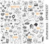 Stock vector mega doodle design elements vector set hand drawn illustrations photo sweets books hearts 349082537
