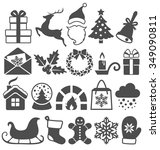 set of christmas winter flat... | Shutterstock . vector #349090811