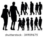a set of people silhouettes.... | Shutterstock .eps vector #34909675