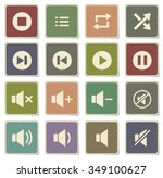 media player label icons for web | Shutterstock .eps vector #349100627