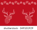 red background. card. deer.... | Shutterstock .eps vector #349101929