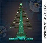 techno design of a christmas...   Shutterstock . vector #349111154