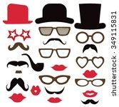 retro party set   glasses  hats ... | Shutterstock .eps vector #349115831