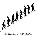 Editable vector silhouette of people on stairs with all elements as separate objects - stock vector