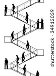 Editable vector silhouettes of people walking up and down flights of stairs with all elements as separate objects - stock vector