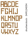 font made out of wooden bars ... | Shutterstock .eps vector #349124054