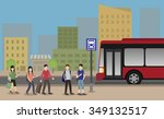 people standing at the bus stop ...   Shutterstock .eps vector #349132517