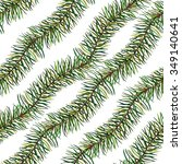 watercolor spruce sprig...   Shutterstock . vector #349140641